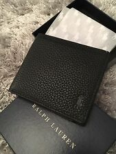 Polo Ralph Lauren Black Leather Wallet Gift Box Mens AUTHENTIC Pony RL