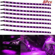 8xCar Purple Grill Flexible Waterproof Light Strip Interior Atmosphere Light New