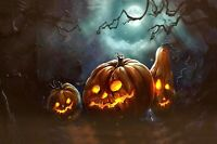 Hollow Halloween Haunted House~Pumpkins~Scarecrow~LED Lighted Canvas~23x15~Timer