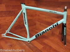 BIANCHI CELESTE SUPER PISTA SINGLE SPEED FIXED GEAR TRACK FRAME SET 59CM BEAUTY