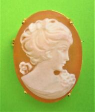 H468:) Vintage gold tone orange Resin Cameo lady relief oval Brooch