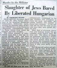 <1945 newspaper JUDAICA Holocaust Nazi FINAL SOLUTION  uncovered at AUSCHWITZ