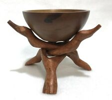African Ghana Hand Carved Wooden 3-Head Unity Stand Sculpture w Wood Bowl Dish