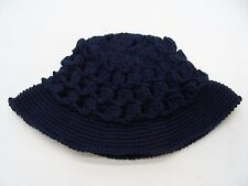NAVY BLUE - HAND KNITTED - ONE SIZE - HEAVY ACRYLIC - BUCKET HAT SUN CAP