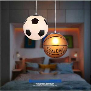 Modern Basketball Football Glass Pendant Lamp Kids Room Bar Chandeliers