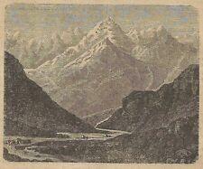 A3137 Bacchiglione - Veduta - Stampa Antica del 1887 - Incisione