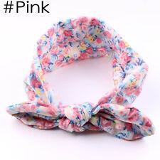 Lovely Baby Infant Turban Rabbit Ears Headband Flower Hairband Bowknot Head Wrap Pink