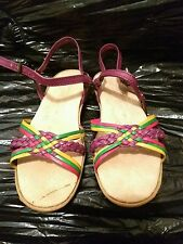 Vintage 70s Famolare Dance There Colorful Leather Wavy Wedge Strappy Sandals Sz5