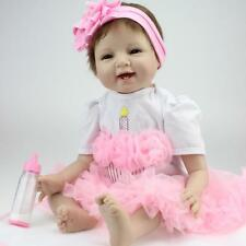 PP Cotton Filling Silicone Reborn Baby Doll Girls Collecting Dolls Pink P7M0