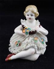Antique Frankenthal Dresden Lace Porcelain Figurine, Young Girl or Child, Seated