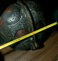 Mask African Carved Wood Tribal Wall Hand Vintage Art Wooden Face Decor  1220