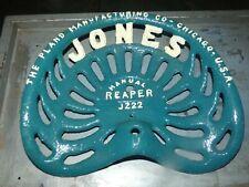 JONES REAPER CAST IRON TRACTOR IMPLEMENT SEAT COLLECTIBLES