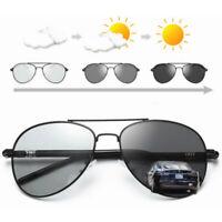 Men's HD Polarized Photochromic Sunglasses Pilot Chameleon Driving Sun Glasses