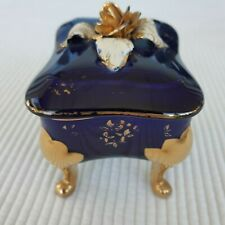 Trinket Jewelry Box Blue Gold Floral Ceramic Vintage Rectangle Dresser