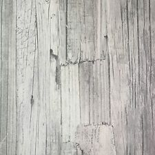 French Provincial Rustic Timber Wood Effect Wallpaper in Greyscale - 10M