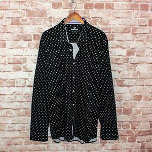 Butter Cloth Men's Button up Shirt Black Printed Size 3XL Regular Fit
