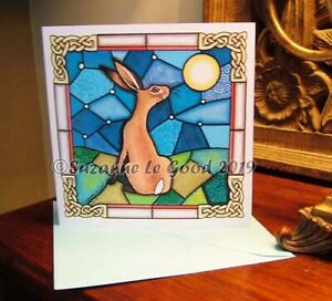 Hare Moon art greetings or birthday card pagan from panting by Suzanne Le Good
