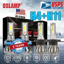 4PCS H4 H11 LED Headlight Kit Conversion Hi-Lo Beam Fanless 6000K Super White US