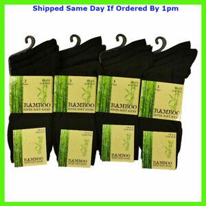 6 Pairs Men's Dark Black Luxury Bamboo Super Soft Anti Bacterial Socks 6 11