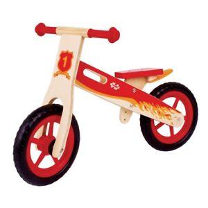 Bigjigs Bicicletta senza pedali  in legno rossa - BJ776 - First Balance bike red