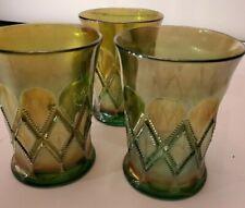 Millersburg Glass - Set Of 3 Diamond Tumblers - Green Carnival Glass