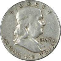 1957 Franklin Half Dollar AG About Good 90% Silver 50c US Coin Collectible