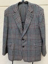 ZOHREH COUTURE 100% CASHMERE GRAY PLAID MENS BLAZER JACKET SURGEON BUTTONS SZ 48