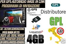 SD CARD NAVIGATORE AUTORADIO CINESI 2 DIN 4 GB MAPPA 09/18 EUROPA VELOX 09/2018
