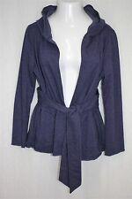 Sere Nade XL Blue Heather Soft Fleece Knit Tie Belted Open Hoodie Hooded Jacket