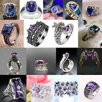 Elegant 925 Silver Rings Women Jewelry Amethyst Sapphire Wedding Ring Size 6-10