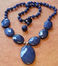 Silver and Dyed Blue Jasper Necklace
