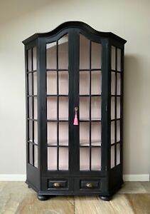 Vintage Black and Pink Painted Solid Oak Display China Bookcase Glazed Cabinet