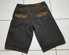 Crown Holder Jean 38 Shorts Embroidered Embellished Signature Charcoal B1104