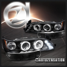 1993-1997 Toyota Corolla Black Halo LED Projector Headlights+Bumper Lamps
