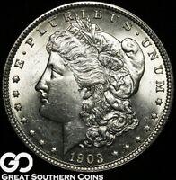 1903 Morgan Silver Dollar Silver Coin, Lustrous Blast White Gem BU++ Blazer!