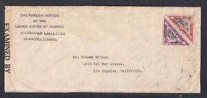 LIBERIA 1940's WW2 2c & 3C TRIANGLE ISSUES ON CENSORED COVER MONROVIA TO USA