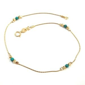 14kt Gold Filled Chain, 3mm Hammered Beads and Green Turquoise Beads ANKLET