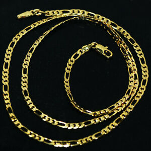 Mens Womens Cuban Link Figaro Necklace Gold Chain Necklace Jewelry Long 24 Inch