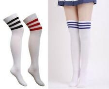 Women Girls Thigh Sport Striped Cotton Socks Over Knee Stockings