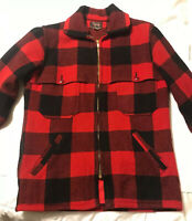 "Men's Vintage 40"" M WOOLRICH Red/Black Buffalo Plaid Wool Hunting Coat Jacket"
