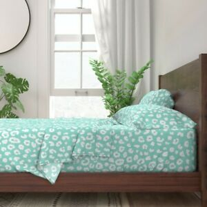 Leopard Animal Mint Aqua Turquoise Baby 100% Cotton Sateen Sheet Set by Roostery