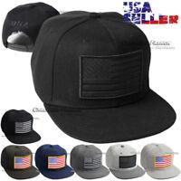 American USA Flag Hat Baseball Cap Embroidered Snapback Adjustable Flat Brim Men
