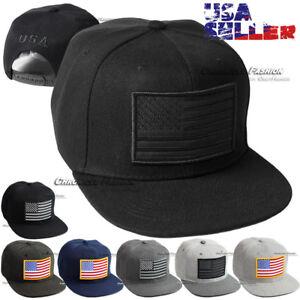 USA Hat Baseball Cap American Flag Embroidered Snapback Adjustable Flat Bill Men