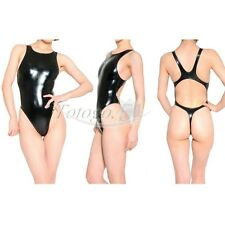 Women Leather One-Piece Swimsuit Bikini High Cut Thong Leotard Bodysuit Swimwear