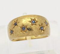 ♦♦ Breiter Ring in aus 18 kt 750er Gelb Gold mit Topas Blau Topasring Gr. 55 ♦♦