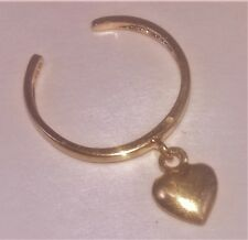 10k Solid Yellow Gold Adjustable Toe Ring with Dangling Gold Heart