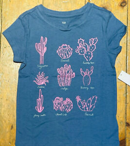 NWT Gap Kids Girls Shirt Top blue purple pink cactus cacti desert Small 6/7