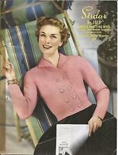 VINTAGE  KNITTING PATTERN 1950's SHORT DOUBLE-BREASTED JACKET