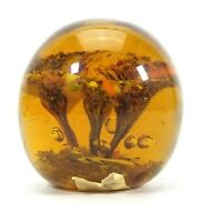 Vintage Amber PAPERWEIGHT GLASS Three Lilies Bubbles Artist Claude Baker 1947