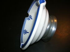 """DELFTS BLUE AND WHITE HAND-PAINTED ASHTRAY WITH METAL BASE.....""""RARE & UNUSUAL"""""""